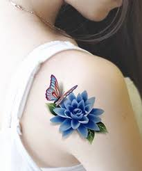 stylish 3d flower and butterfly on shoulder for
