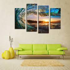 aliexpress com buy 4 panels framed sea wave scenery wall art
