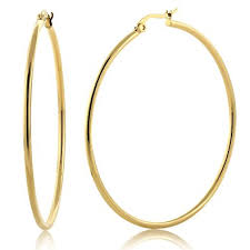 hoop earring 2 stunning stainless steel yellow gold plated hoop