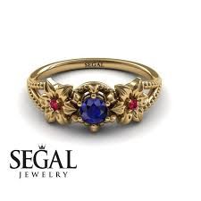 engagement ring sapphire leaf engagement ring 14k yellow gold 0 25 carat cut