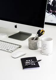 black white and grey work space office desk inspiration