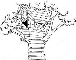 house outline vector of a cartoon pirate boy in his tree house black and white