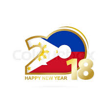 year 2018 with philippines flag pattern year design