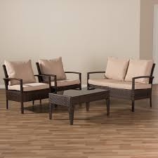 Wicker Patio Furniture Baxton Studio Empire Modern And Contemporary 4 Piece Brown Wicker