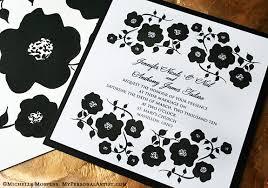 black and white wedding invitations new painted black and white floral invitation design