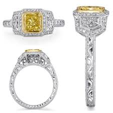 fancy yellow diamond engagement rings michael barin fancy yellow diamond engagement ring packouz jewelers