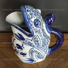 retro style blue and white lucky toad shape vase pot
