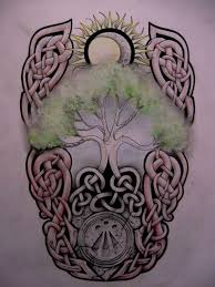 tree and celtic sun design