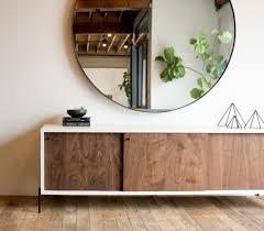 large round steel mirror walnut credenza u2026 pinteres u2026