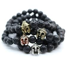 black bead bracelet men images Antique gold color roman warrior gladiator helmet bracelet men jpg