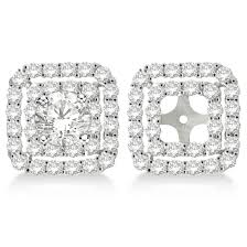 diamond earring jackets pave set square diamond earring jackets 14k white gold 1 05ct