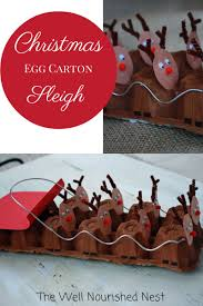 christmas crafts egg carton reindeer sleigh craft for kids the