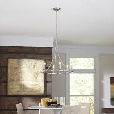 Dining Room Chandeliers Lowes Shop Allen Roth 6 Light Brushed Nickel Chandelier At Lowes