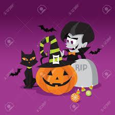 halloween scenes a cartoon vector illustration of a halloween trick or treat scene
