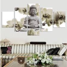 compra fengshui pintura online al por mayor de china mayoristas figura pintura sin marco 5 panel grande orquidea fondo buda pintura fengshui canvas wall art pictures