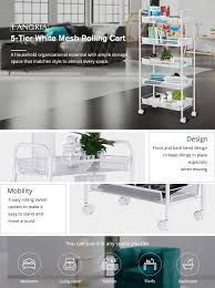 Moving Kitchen Island by Amazon Com Langria 5 Tier Kitchen Trolly Island Cart Utility Mesh