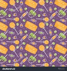 halloween purple and orange background cute cartoon halloween pattern pumpkins sweets stock vector