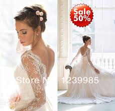 Long Sleeve Lace Wedding Dress Open Back Aliexpress Com Buy 2017 Custom Made One Shoulder Vintage Wedding