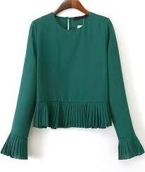 pleated blouse green sleeve pleated crop blouse shein sheinside