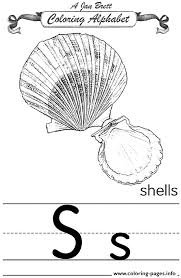 coloring alphabet traditional shells coloring pages printable