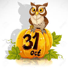 15743918 wise owl sit on a pumpkin halloween party october 31