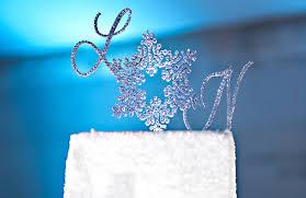 snowflake cake topper monogram wedding cake topper
