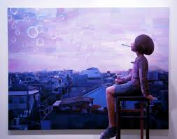 shintaro ohata sculptures in front of paintings
