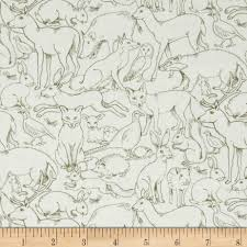 fox deer owl sherwood fabric animal outlines rabbit pig woodland