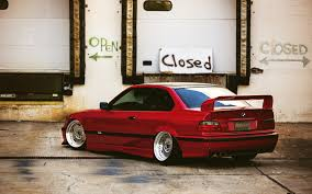 bmw e36 stanced bmw e36 red tuning car wallpaper 1680x1050 16126