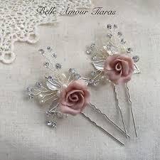 bridal hair pins wedding hair pins porcelain flowers blush bridal hair accessories