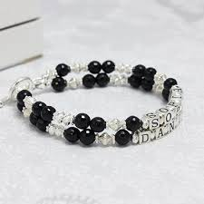 Mothers Bracelets With Names Onyx And Silver Double Name Bracelets With A Double Strand Of