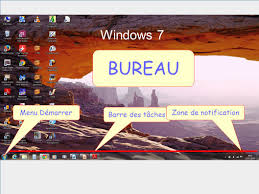image bureau windows 7 windows 7 bureau menu démarrer zone de notification barre des tâches