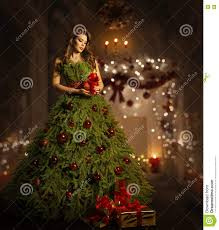 woman christmas tree dress fashion model in xmas gown costume