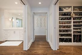 Pocket Closet Door Master Closet With Sliding Doors Transitional Closet