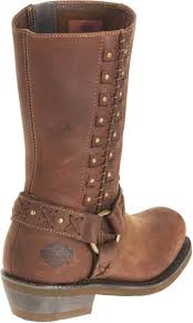 womens brown moto boots harley davidson women u0027s brown leather auburn harness stud