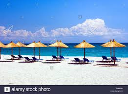 Beach Lounge Chair Umbrella Thatched Roof Umbrellas And Blue Lounge Chairs On The Beach At The