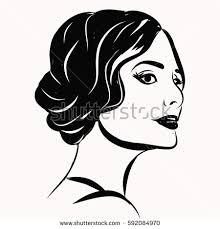 beautiful line art woman illustration stock vector 522808921