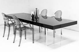 Lucite Dining Room Chairs Lucite Plinth Leg Dining Table In Black Modshop