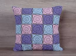 40x40 Cushion Insert Cool Crochet Granny Square Pillow Colorful Pastel Pink Blue