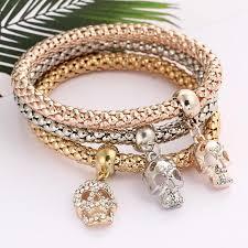 skull bracelet charm images 3 pcs set luxury skull charm bracelet haven store group jpg