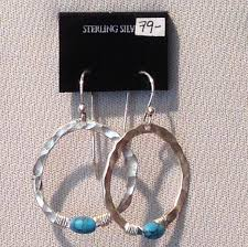 hammered hoops teton gallery hammered hoops with turquoise bead 79 teton