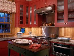 dc metro red birch cabinets kitchen rustic with log walls cabinet