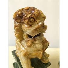 marble foo dogs carved marble foo dogs a pair chairish