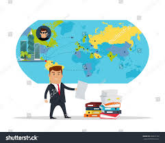 Corruption Map Man Business Suite Sheet Paper On Stock Illustration 668697736