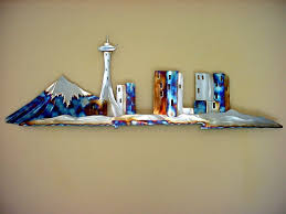Seattle Space Needle Stainless Steel Metal Wall Art Downtown - Home decor seattle