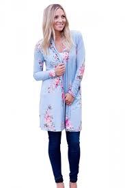 light blue trench coat womens kimono long sleeve pocket floral printed trench coat light
