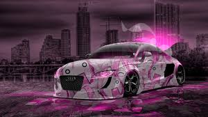 pink audi audi tt tuning anime aerography city night car 2016 tony