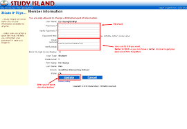 f 1 rules how to change the password on your study island account