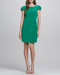 tibi capsleeve openback silk dress in green lyst