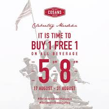 ik cuisine promotion cosans coffee buy 1 free 1 merdeka promotion malaysia food